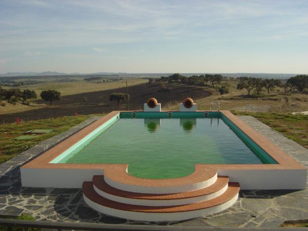 piscina de obra alberca con jarrones